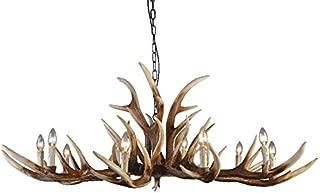 EFFORTINC Antlers vintage Style resin 10 light chandeliers, American rural countryside antler chandeliers,Living room,Bar,Cafe, Dining room deer horn chandeliers