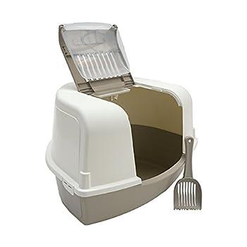 MP Bergamo Maison De Toilette d'angle Corner + Pelle À Litiere pour Chat Beige Beige