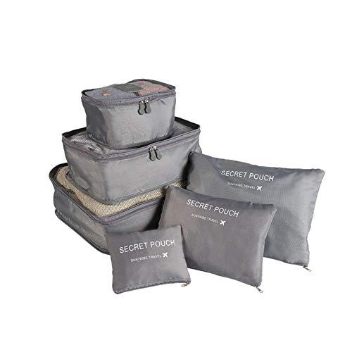 Wxianmy Juego de 6 bolsas de almacenamiento de viaje de color sólido multifunción, bolsa de almacenamiento portátil con cordón para hombres y mujeres, regalo de viaje a casa