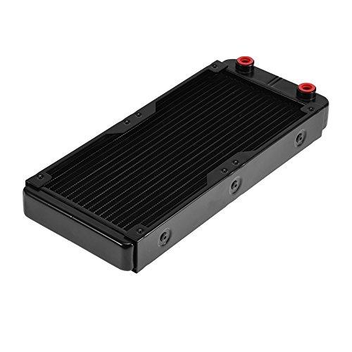 Richer-R Aluminium 240mm Radiator, Computer CPU Wasserkühlung Kühler 18 Flachrohre Kühler Radiator,Wasserkühlung Kühler 18 Röhren Aluminiumheizkörper,Geeignet für Computer-CPU-Kühlsystem Schwarz