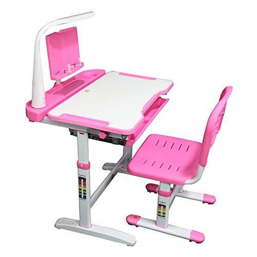 LILIS Pupitres Infantil Estudio de los niños Juego de sillas de Escritorio Multifuncional Mesa de Estudio for 3-15 años de Edad con luz LED y Soporte de Lectura (Color : Pink)