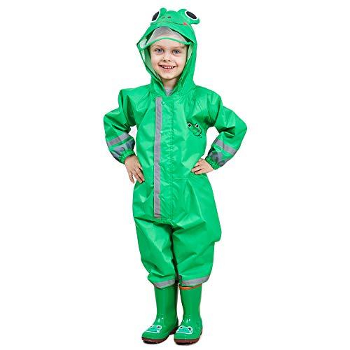Bwiv Regenmantel Kinder Wasserdicht Atmungsaktiv Regenanzug Einteilig Jungen Mädchen Regenjacke mit Reflektor Leicht Overall ohne Geruch 3-10 Jahre Grün S