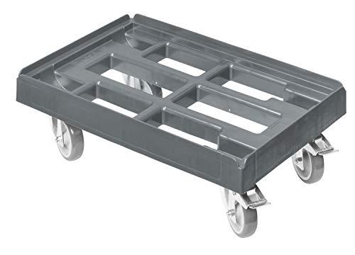 Transportroller für Kisten 60 x 40 cm mit 2 Bremsen in grau
