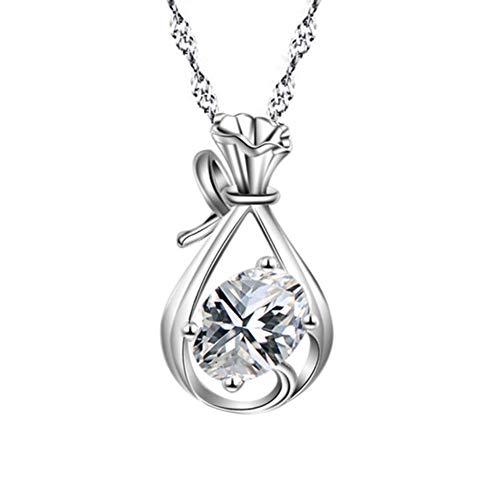 AIUIN Collier avec pendentif en forme de larme d'anges en argent et cristal (ne contient pas de chaîne), avec une pochette à bijoux