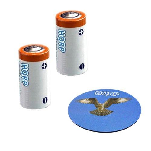 HQRP 2-Pack 3V Batteries Compatible with Canon Sure Shot 115u 105u, EOS Rebel Ti, Rebel T2, Rebel K2, Rebel 2000, 300X, 300V, 3000V, 300 Digital Camera + Coaster