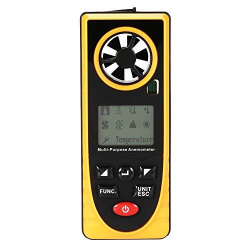 BJLWTQ Anemómetro Digital, portátil Mini Metro de Velocidad del Viento, Medida Profesional Temperatura, Humedad, sensación térmica, Punto de rocío, presión barométrica, iluminación for Exterior