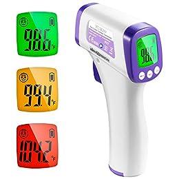 【無觸式測量】無觸式紅外線技術可從額頭讀取,無物理接觸,防止多人之間的交叉感染。 更安全、更健康,尤其是額頭讀數,因為在關鍵的休息時刻不會困擾病人。 測量距離:2~8.0 公分。 【快速準確】配備先進紅外線技術和高精度感測器快速讀取,讀取溫度僅需 1 秒。 溫度測量的準確度在 0.1 ℃內。 【多功能溫度計】數位時間溫度計專為所有年齡層、成人、嬰兒和長者。 除了測量額頭外,它還可以測量房間,物體和液體溫度。 家庭、托兒所、飯店、學校的絕佳選擇。 ℃ 和 F) 可輕鬆切換。 【智慧】自動記憶 10...
