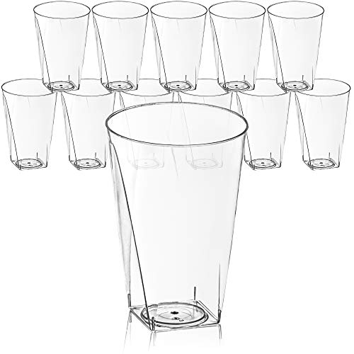 DecorRack 12 Plastic Square Tumblers, 10 oz Crystal Clear -BPA FREE- Plastic Cups, Disposable Party Glass, Beverage Drinking Cup (12 Pack)