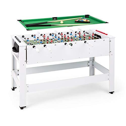 Klarfit Spin 2-in-1 Spieltisch Billardtisch Kicker, Billardtisch: 105 x 58 cm / grüne Bespannung, Kicker-Tisch, inklusive Spielzubehör, Spin-Funktion: drehbarer Tisch für schnellen Spielwechsel, weiß