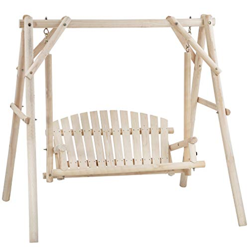 67 Inch Log Swing Stand Porch Swing Set Wood Bench Swing Stand A-Frame Patio Furniture Swing Chair Outdoor Rustic Curved Garden Swing Yard Play