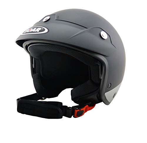 Soar Motorradhelm LEV Sprint Black Silver Matt, Größe M (57-58 cm), mit integriertem Sonnenvisier!