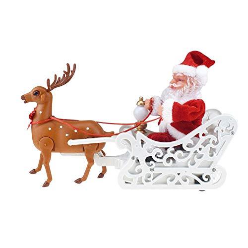 ZGYQGOO Juguete eléctrico Papá Noel Navidad, Música Navidad Alce eléctrico Tirando Trineo...