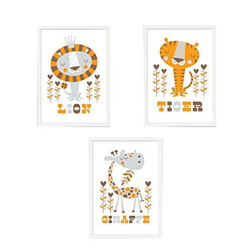 Trayosin 3er Set Kinderzimmer Poster Babyzimmer DIN A4 ohne Bilderrahmen   Mädchen Junge   Kinderposter Kunstdruck im skandinavischen Stil   bunt (Stil 3)