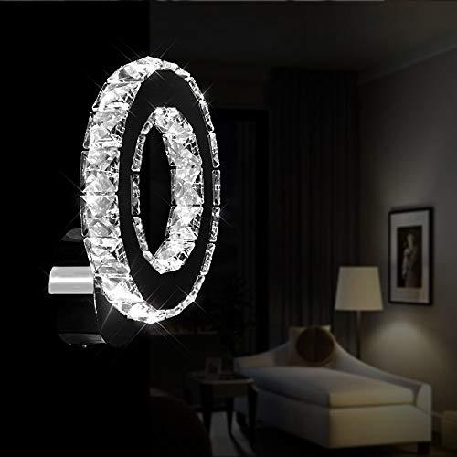 DAXGD Lámparas de pared de cristal, Lámpara de pared LED 6000K Aplique de pared LED K9 Crystal 16W para sala de estar, Dormitorio, Luz blanca fría
