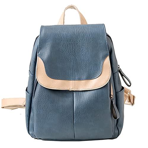 ZCWYP Mochila Bolso para Mujeres Y Adolescentes – PU Leather Top-Manejar Señoras Moda Viaje Bolsa De Bolsillo – Daypack-Azul 30x26x13cm