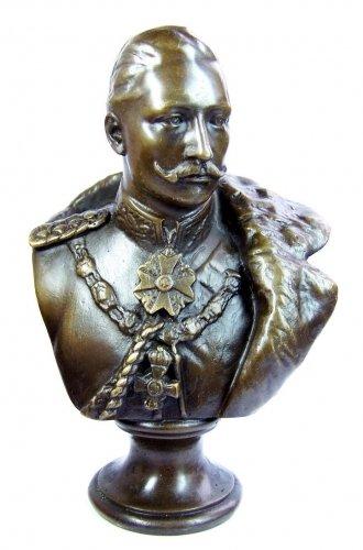 Kunst & Ambiente - Kaiser Wilhelm II. - Bronzen figuur/bronzen buste - Duitse keizerrijk - gesigneerd - buste antiek kopen - militaria - Duitse keizer