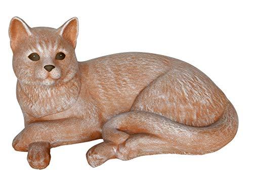 Tiefes Kunsthandwerk Steinfigur Katze liegend groß - Terrakotta, Garten, Deko, Stein, Figur, Frostsicher