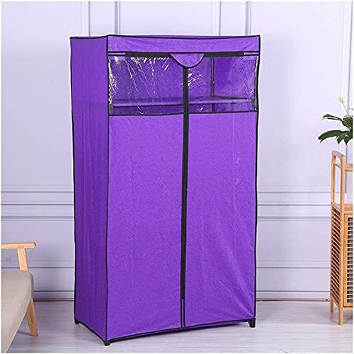 Armario No-Tejido-Capa Móvil Ropa Móvil Organizador Conveniente Zipper Hogar Dormitorio Almacenamiento Colgando (Color: Púrpura, Tamaño: 90 × 50 × 160cm)