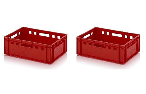 2x Fleischkiste E2 60x40x20 Metzgerkiste Eurofleischkiste rot inkl. Zollstock 2er Set
