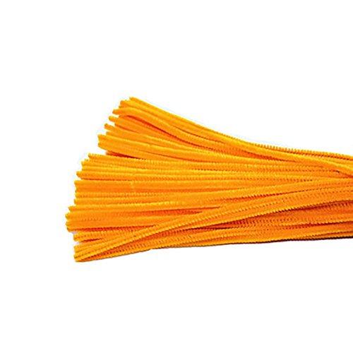 Kentop, confezione da 100 fili di ciniglia lunghi 30 cm per peluche, artigianato e decorazioni fai da te, Fibra, Orange, 30cm x 6mm