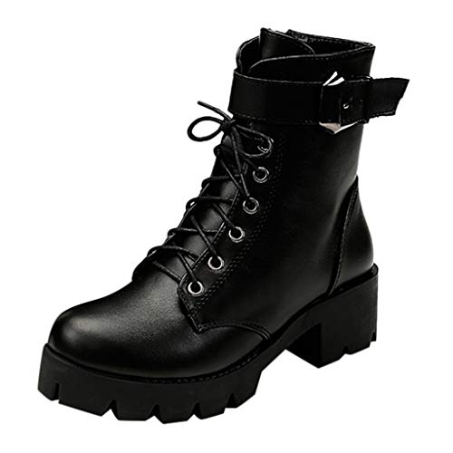 TUDUZ Damen Stiefeletten Schnürschuhe Combat Boots Streetwear(Schwarz,38 EU)