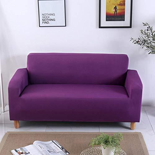 CURTAINSCSR Funda de Sofá Elástica Púrpura Sofá Cubierta Estampada Poliéster y Elastano Funda de Sofá para Sala de Estar Funda Antideslizante para Muebles, 1 Plazas: 90-140 cm