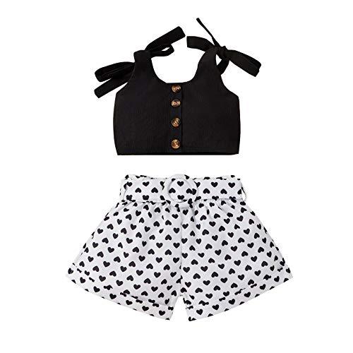 Kobay Kleinkind Baby Mädchen ärmellose Feste Tops + Liebe Bedruckte Shorts Outfits Kleidung