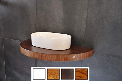 Edler Waschtisch Waschtischplatte oval/rund Nussbaum/Walnuss inklusive Halterung OT-100 Carl Svensson