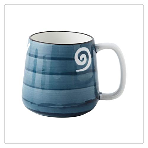 FTW SHENHUO Taza De Cerámica con Impresión A Mano De Estilo Clásico, Estilo De Color con Vidriado, 350 Ml, Taza De Desayuno De Gran Capacidad, Taza De Café Y Leche (Color : Style 5)