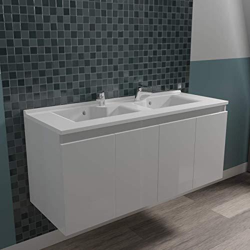 UneSalleDeBain Caisson Double Vasque PROLINE 120 - Blanc Brillant