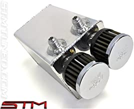 STM SQUARE OIL CATCH CAN Fits EVO 8-9 UNPOLISHED 3 PORT W/BREATHER FOR 6 SPEED TRANS