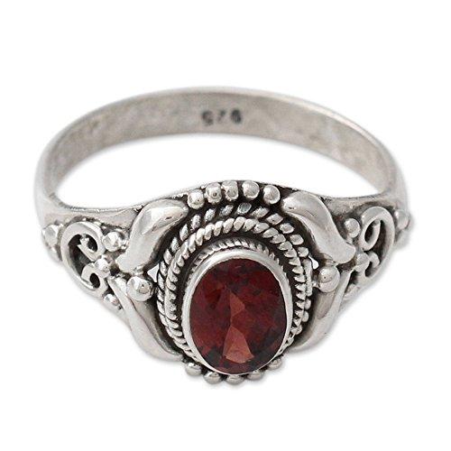 NOVICA Garnet .925 Sterling Silver Cocktail Ring, Traditional Romantic'