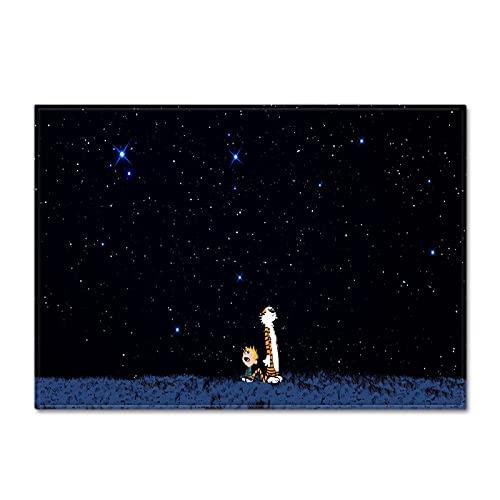 NTtie Interiores y Suaves Alfombras de Sala de Estar aptas para niños Alfombra Grande con patrón de Cielo Estrellado para Dormitorio.