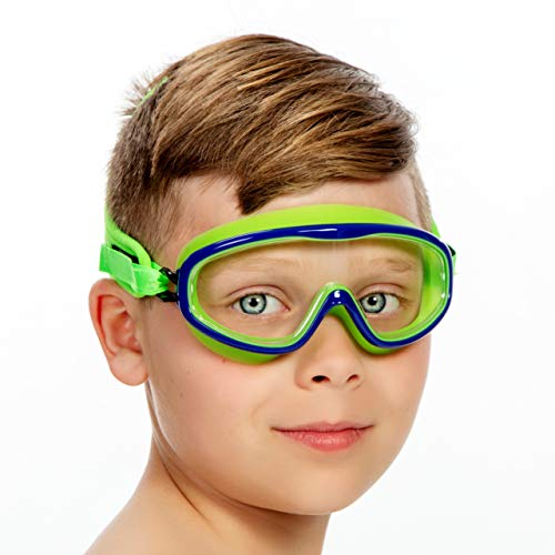 Frogglez Youth Wide View Anti-Fog Crystal Clear Swim Goggle Mask for Kids under 10 (Ages 3-10) Recommended by Olympic Swimmers; Premium Pain-Free Strap, Green