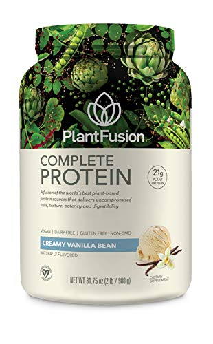 PlantFusion Complete Plant Based Protein Powder, Creamy Vanilla Bean, 2 Lb Tub, 30 Servings, 1 Count, Gluten Free, Vegan, Non-GMO, Packaging May Vary