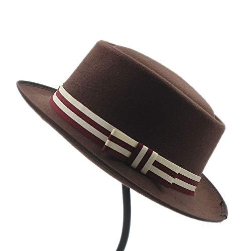Men Porkpie Hut mit gestreiftem Hutband Erhältlich in 8 Farben im Unisex-Stil (auch Pork Pie Hut) (Farbe : Kaffee, Größe : 56-58CM)