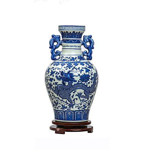 ufengke Vaso in Ceramica Drago Binaurale, Jing Dezhen Vaso Porcellana Blu E Bianca, Vasi Cinesi Vasi Vintage Vaso Decorativi, per La Famiglia, Ufficio, Matrimonio, Festa