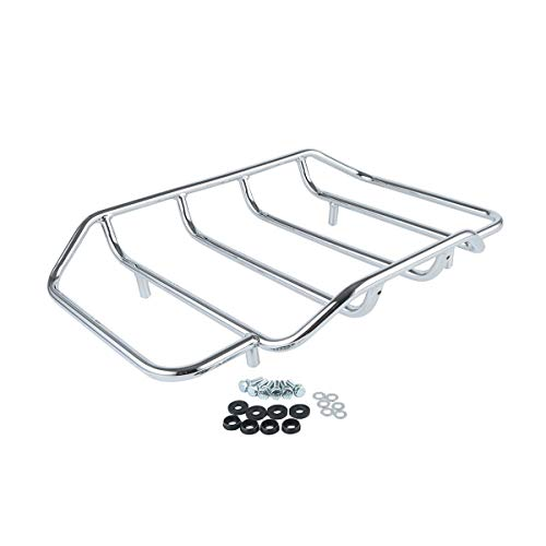 TCMT Motorcycles Chrome Luggage Rack Rail Tour Pack Carrier Trunk Top Fits For Harley Road King Glide Touring 1984-2020