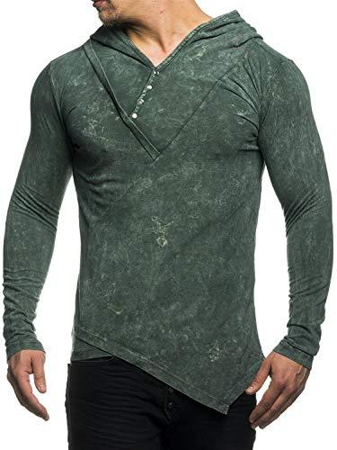 TAZZIO 16205 Camiseta de manga larga para hombre, con capucha caqui L