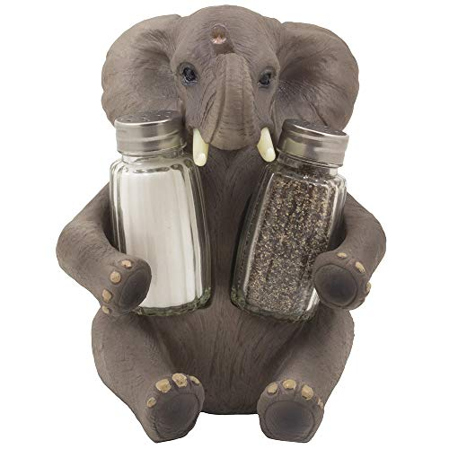 Decorative Lucky Baby Elephant Salt and Pepper Shaker Set with Holder Figurine for African Jungle Safari Kitchen Decor Statuettes & Sculptures Featuring Zoo Animals As Unique Collectible Gifts by Home