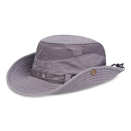 DORRISO Hombre Mujer Sombrero para el Sol UPF 50+ Anti-UV Vacaciones Viaje Playa Gorro de Pesca Unisexo Sombrero Pescador Gris