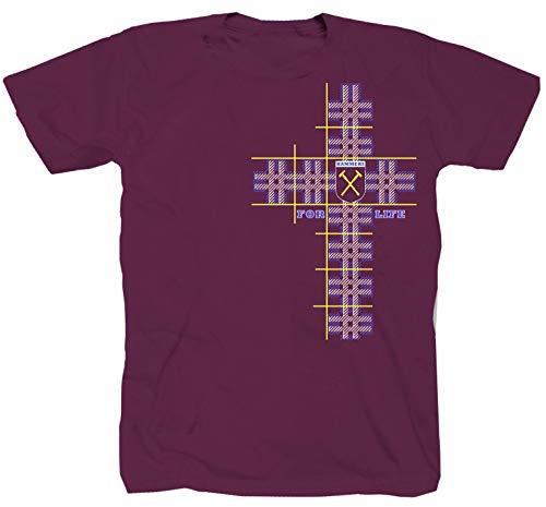 Shirtzshop Hammers for Life London Football Club Ultra Fan Fankurve Ultras Burgundy - Camiseta granate XL