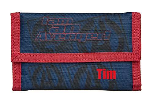 Geldbeutel mit Namen | Motiv Avengers inkl. Namensdruck | Bedrucken & Personalisieren | Geldbörse zum Klappen Kindergeldbeutel Klarsichteinschub Klettverrschluss Münzfach