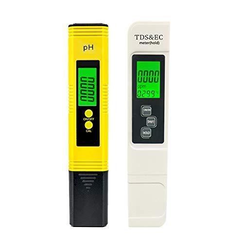 PH Messgerät TDS EC PH Temperatur 4 in 1 Set, Wasserqualität Tester mit Hoher Genauigkeit, Drinking Water, Trinkwasser/Schwimmbad/Aquarium