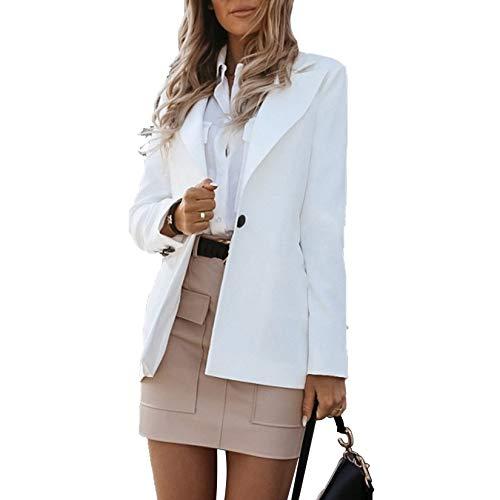 Blazer per Donna Tailleur Giacca per Ufficio Lavoro Business OL a Maniche Lunghe Colletto Rivolto Casual Elegante (Bianco, L)