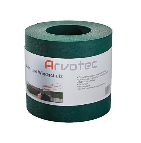 Arvotec Sichtschutz, 25 Meter - 5 Farben wählbar - zur Anbringung an Doppelstabmatten - Lärm-, Sicht- & Windschutz - einfache Montage, ohne Werkzeug - 1,1 mm Stärke statt der üblichen 1,0 mm (Grün)