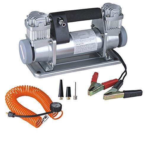 JDDSA Compresor de Aire Portátil con Doble Pistón, Bomba para Inflar Neumáticos, Resistente, con Bomba de Aire Kit de Compresor de Aire, 150PSI, para Coche, Camion