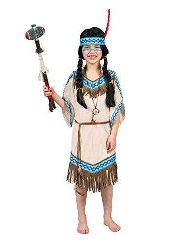 Funny Fashion Indianerin Thundering Teepee Kostüm für Kinder - Beige Blau Gr. 140