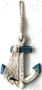 Deko Anker 17cm mit Thermometer und Haken Holz m. Seestern Muschel