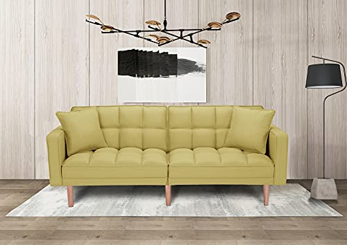 Convertible Futon Sofa Bed with Two Pillows, Modern Upholstered Sleeper Sofa Couch with 3 Adjustable Backrests and 5 Solid Wooden Legs, Twin Size Loveseat Recliner for Living Room (Yellow)